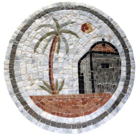 3rd ancient: Ancient mid 3rd century Roman mosaic depicting a Bedouin hut and palm tree
