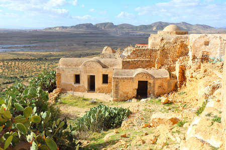 Ruins of ancient Berber village in Takrouna, Tunisia Stock Photo