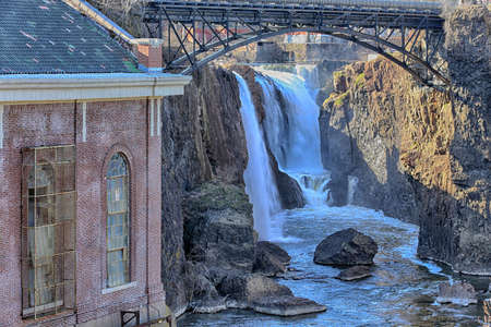 The Great Falls of the Passaic River and Hydro Power Station in HDR Stock Photo