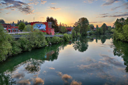 Sunrise on the Snohomish River Stock Photo