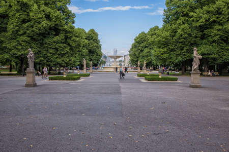 Warsaw, Poland, June 20, 2015: Fountain and sculptures in the Saxon Garden Warsaw