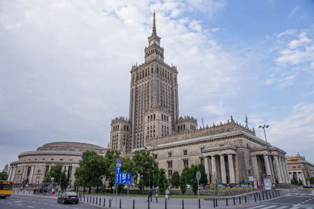 WARSAW; POLAND - JUNE 09: The Palace of Culture and Science as seen on 09 June 2015 in Warsaw; Poland