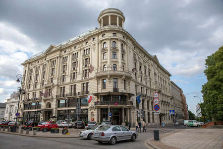 cornerstone: WARSAW; POLAND - JUNE 20: The Bristol Hotel cornerstone was laid on April 22, 1899 and the hotel opened on November 19, 1901 as seen 20 June 2015 in Warsaw; Poland