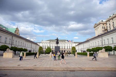 WARSAW, POLAND - JUNE 20: Presidential Palace and statue of Prince Jozef Poniatowski on June 20, 2015 in Warsaw, Poland. The statue was executed between 1826 and 1832 by sculptor Bertel Thorvaldsen.