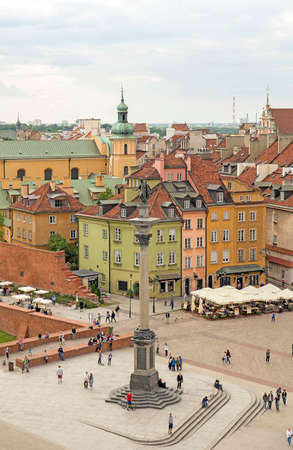 Warsaw, Poland, June 20, 2015: View of Warsaw old town and King Sigismunds Column