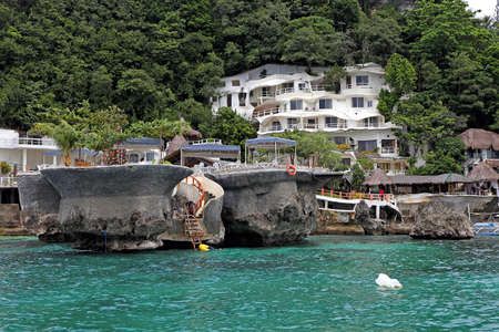 boracay: BORACAY; PHILIPPINES - NOVEMBER 29: West Cove Resort on Boracay Island in the Philippines as seen on 29 November 2015. Stock Photo