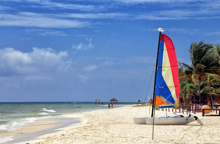 hobie: A Hobie Cat Catamaran on a beautiful tropical beach