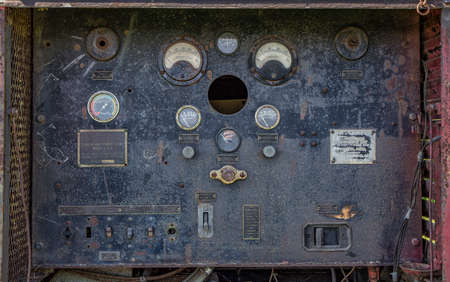 Vintage searchlight power plant control panel