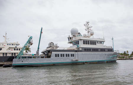 marine ship: FORT LAUDERDALE - JUNE 22, 2016: The Alucia is a 182.91ft state of the art scientific and exloration research vessel.