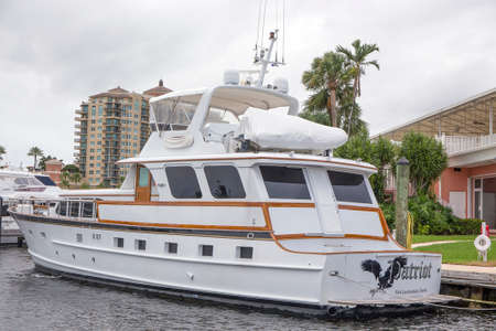 intercoastal: FORT LAUDERDALE - JUNE 22, 2016: This 1961 72-foot Burger yacht called Patriot, was originaly owned by Jim and Ann Wallgreen, of Wallgreens drug stores. Editorial