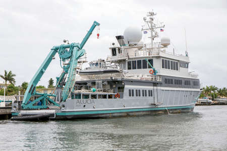 FORT LAUDERDALE - JUNE 22, 2016: The Alucia is a 182.91ft state of the art scientific and exloration research vessel.