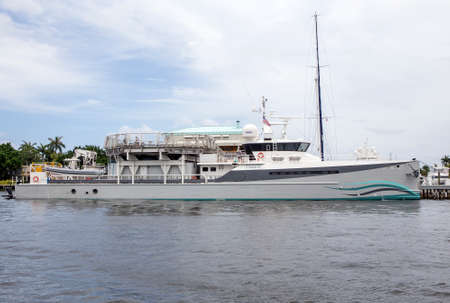 configured: FORT LAUDERDALE - JUNE 22, 2016: The Umbra is a luxury fast support vessel configured to support diving, media and helicopter operations.