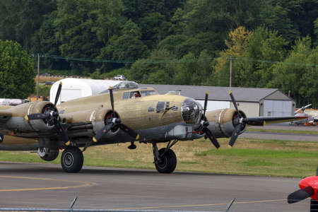united states air force: SEATTLE - JULY 03, 2016: The B-17G FLying Fortress - One of the most recognized WWII aricraft.