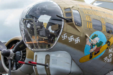 turret: SEATTLE - JULY 03, 2016: The chin turret of a B-17G FLying Fortress - The Turret Gunners job includes the control of dropping the Bombs. Editorial