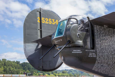 the liberator: SEATTLE - JULY 03, 2016: The tail gun turret of a vintage B-24J Liberator