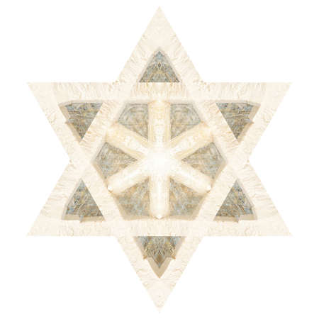 Textured abstract Star of David isolated on white
