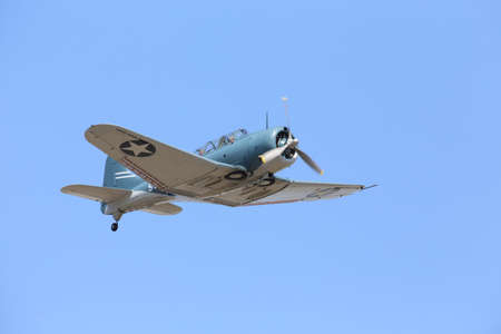 Everett, WA, USA - July 30, 2016: An SBD Dauntless Dive-bomber was seen flying over Everett Paine Field Stock Photo
