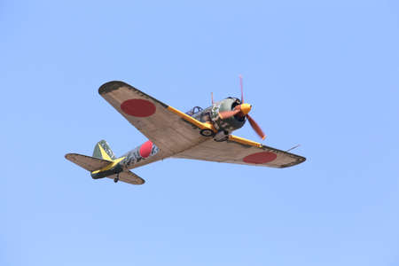Everett, WA, USA - July 30, 2016: A rare Nakajima KI-43 Hayabusa was seen flying over Everett Paine Field
