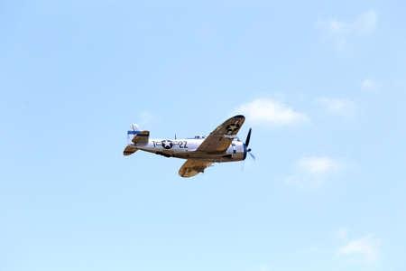 thunderbolt: Everett, WA, USA - July 30, 2016: A Republican P47D Thunderbolt was seen flying over Everett paine Field.