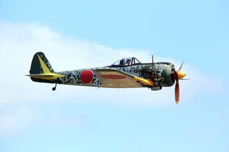 Everett, WA, USA - July 30, 2016: A rare Nakajima KI-43 Hayabusa was seen flying over Everett Paine Field