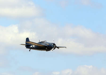 united states air force: Everett, WA, USA - July 30, 2016: A Grumman FM-2 Wildcat was seen flying over Everett Paine Field