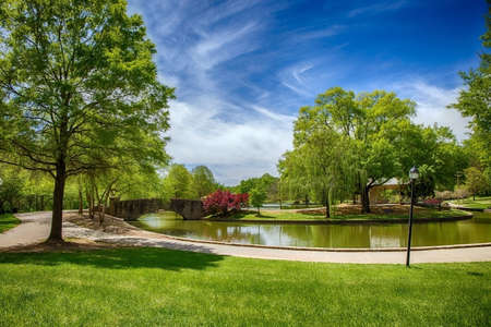 A beautiful spring day in Freedom Park, Charlotte NC Standard-Bild