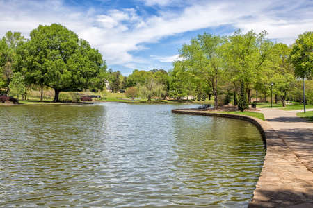 nc: A beautiful spring day in Freedom Park, Charlotte NC Stock Photo