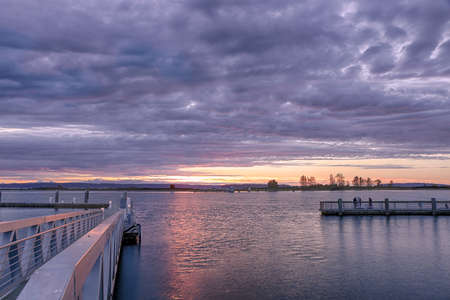 puget sound: Beautiful sunset over the Snohomish River in Everett Stock Photo