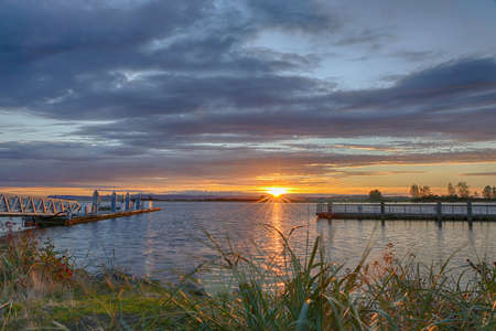 Beautiful sunset over the Snohomish River in Everett Stock fotó