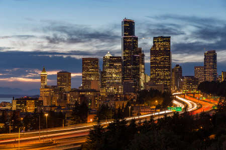 puget: View of Seattle at dusk Stock Photo