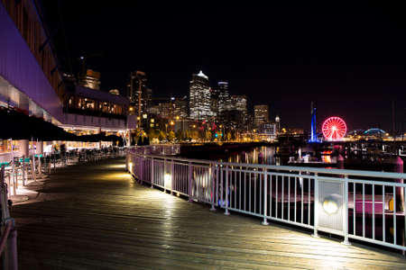 Seattle waterfront at night Stock Photo