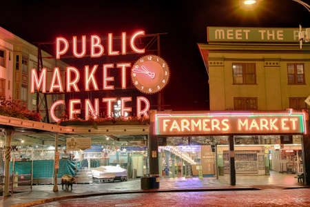 pike place market: Seattle, WA, USA - August 29, 2016: Seattles Pikes Market at night in HDR Editorial