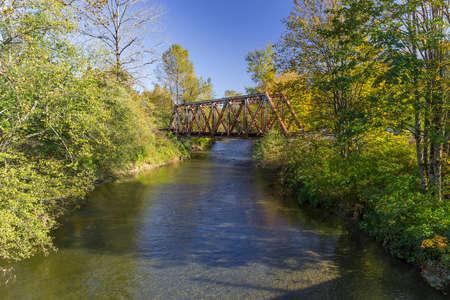 wallace: A Warren Truss railway bridge over the Wallace River, Washington Stock Photo