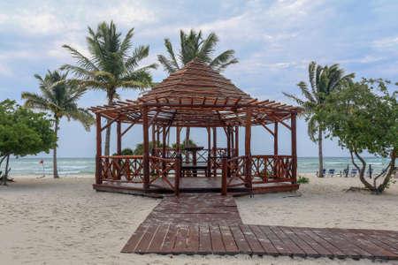 tiki: Tiki hut on a beach in Mexico
