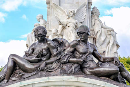 Figures representing Naval and Military Power at the base of Queen Victoria Memorial