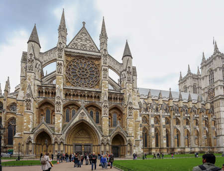 London, England, UK - October 12, 2013: The Gothic church of Westminster Abbey, the site of English coronations