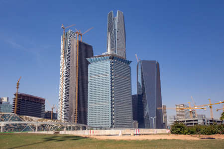 Riyadh, Saudi Arabia, KSA - Jan 26, 2017: Samba Financial Groups new building being constructed in the new King Abdullah Financial District in Riyadh