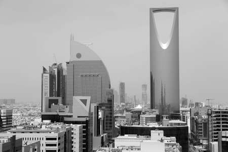 Riyadh cityscape in black and white Stock Photo
