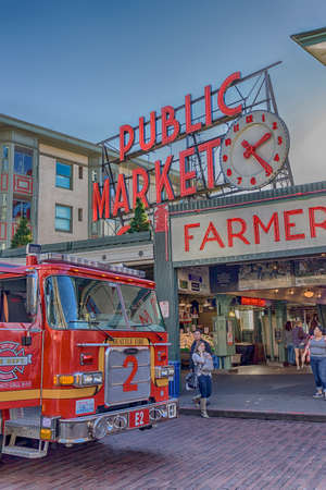 Seattle, WA, USA - Nov 8, 2017: Seattles Pike Place Market in HDR with fire engine No.2 parked in front Editorial