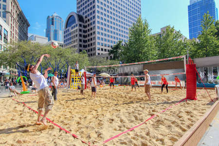 Seattle, WA, USA - July 21, 2017: Taco Del Mar sponsored a beach volley ball court open for public use as part of the city summer activities Editorial