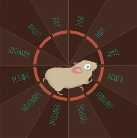 hamster: illustration of exhausted hamster running onto his calendar-wheel Illustration