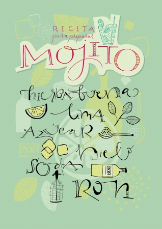 hand written: A variety of hand-drawn text and illustrations to compose the Mojito cocktail recipe  Vector file  Background elements in separate layers