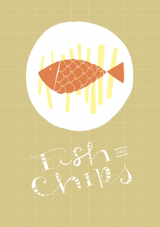 fish shop: Fish And Chips hand-drawn dish and text  vector file  Background and illustration in separate layers  Hi res JPEG included