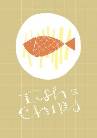 fish and chips: Fish And Chips plato dibujado a mano y el texto vector de archivo de fondo y la ilustración en capas separadas Hi res JPEG incluido