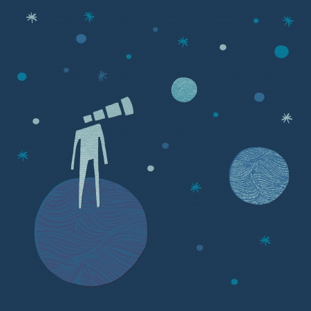 beyond: Man with telescope head watching the planets and the stars  Hand-drawn illustration