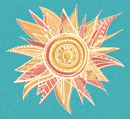 sun illustration: Ornament sun illustration