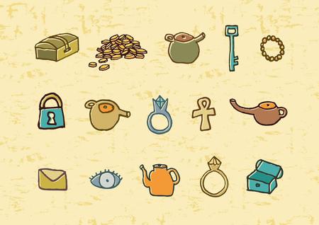 treasure hunt: Treasure elements illustration