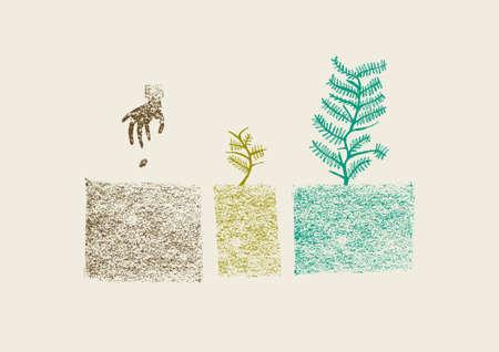 세 단계 컬러 풀 손에 나무 성장 과정으로 그린 그림