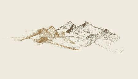 grafite: Grafite mano montagne disegnato illustrazione vettoriale Vettoriali