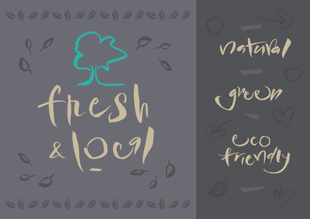 Vegetarian - Fresh   Local - Illustration and calligraphy  Vector